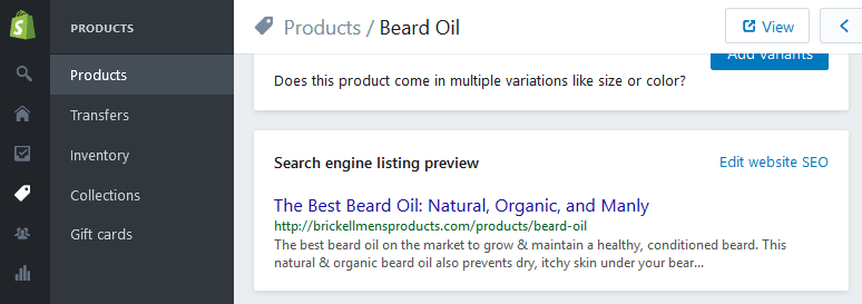 shopify product seo