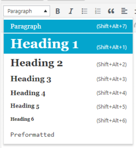 WordPress Headings